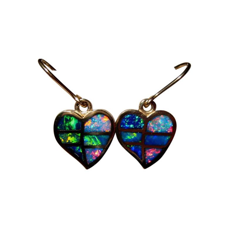 Opal Heart Earrings 14k Gold Bright Colorful