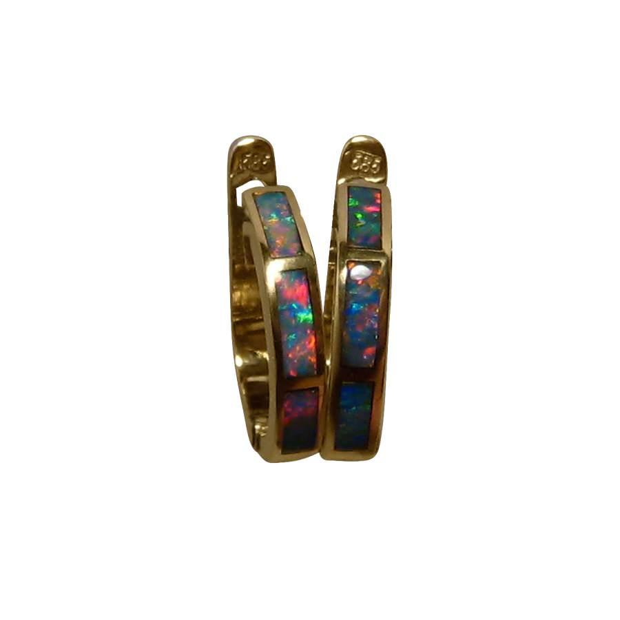 Hoop Opal Earrings 14k Gold Huggie 14 Mm Opal Jewelry
