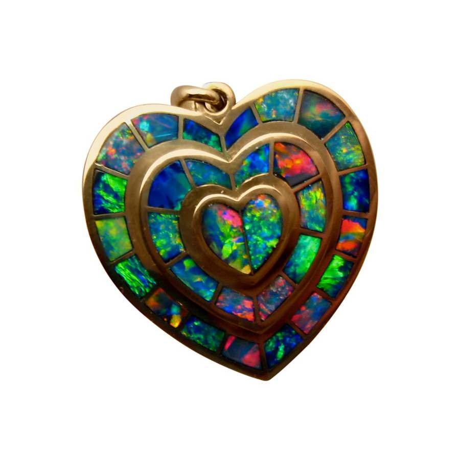 Exceptional love heart opal pendant 14k opal pendants flashopal love heart pendant inlaid opals in 14k gold aloadofball Choice Image