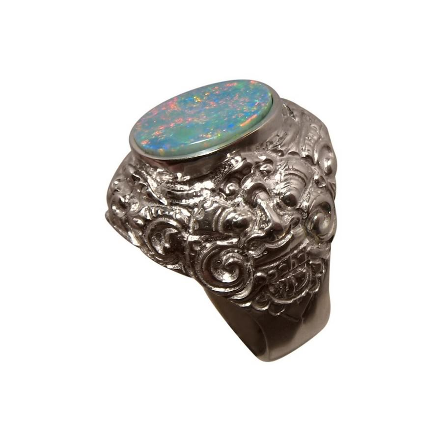 Mens Big Opal Ring Sterling Silver Barong Lion Design