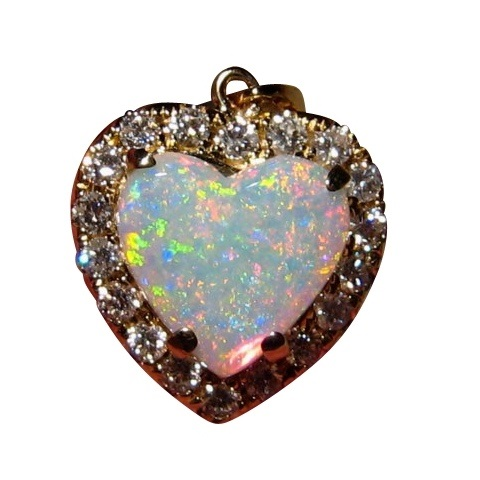 Opal love heart and diamond pendant