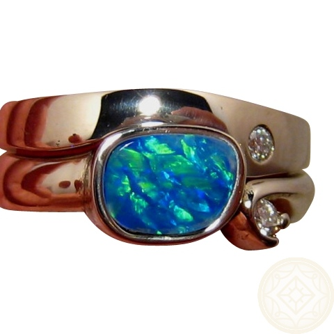 Opal Engagement Wedding Rings Interlocking FlashOpal