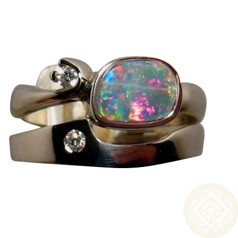 superb opal diamond engagement wedding ring set 14k gold