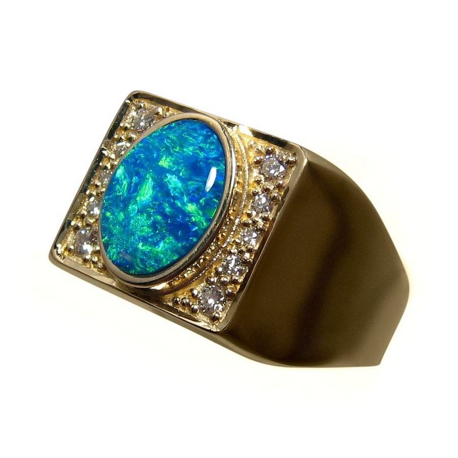Mens Big Opal Diamond Ring 14k Gold - Opal Ring Men | FlashOpal