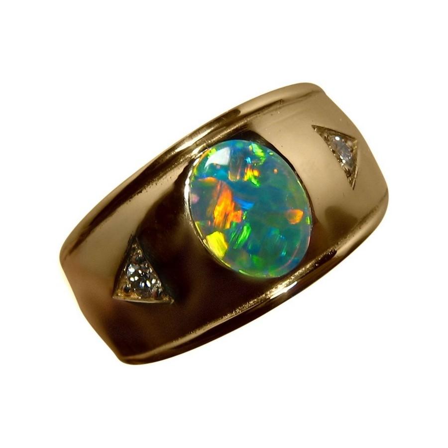 Mens Opal Ring Diamonds 14k Gold Wide Band Flashopal