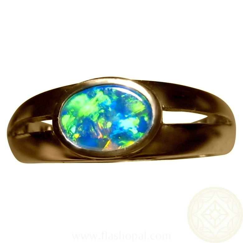 Opal Ring 14k Gold Split Band Oval Green Blue Gem | FlashOpal