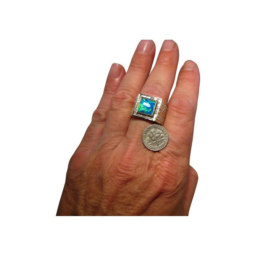 Mens Opal Ring Diamonds Big Square 14k Gold Flashopal