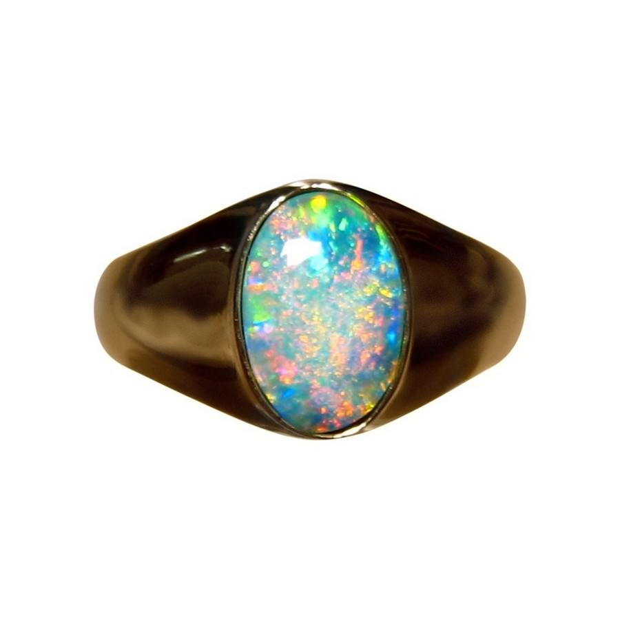 Mens Solitaire Opal Ring 14k Gold Natural Opal Ring FlashOpal