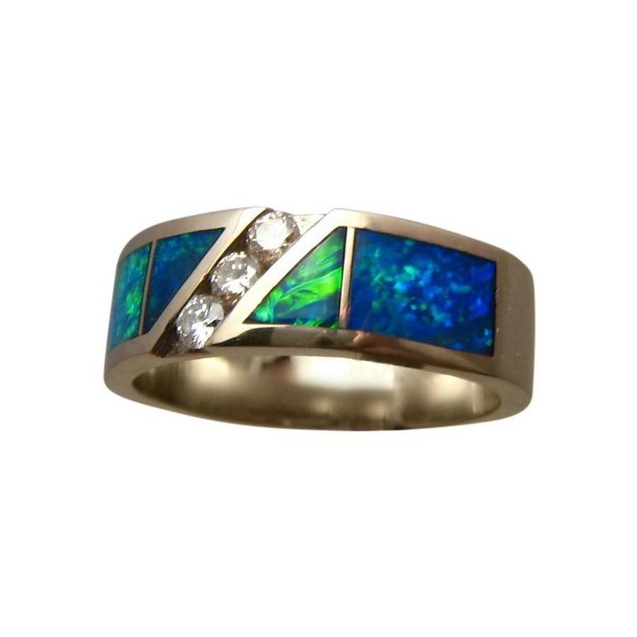 Beautiful Mens Green Blue Opal Diamond Ring Gold - Opal Rings Men   FlashOpal KI01