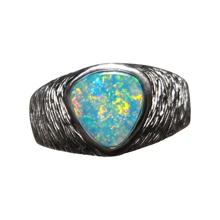 Opal Ring Men 925 Silver Triangle Gem Mens Opal Rings FlashOpal