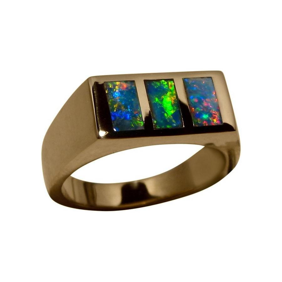 Mens Inlay Opal Ring 14k Gold Opal Rings Men Flashopal
