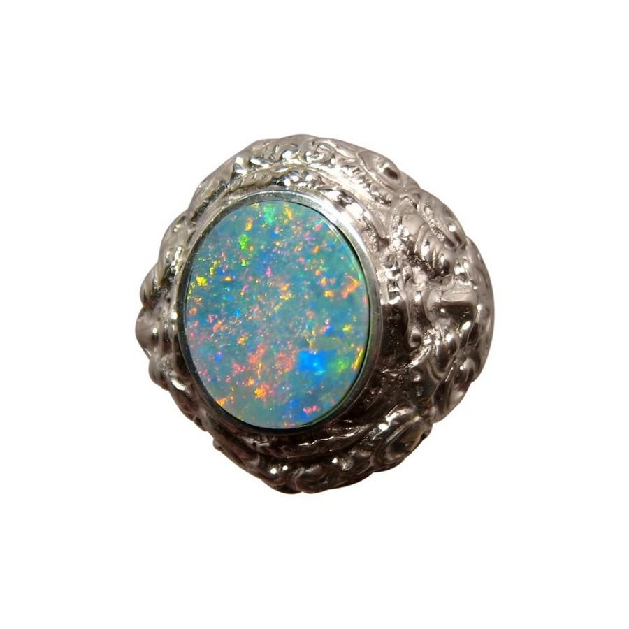 Mens Big Opal Ring Sterling Silver Barong Lion Design FlashOpal