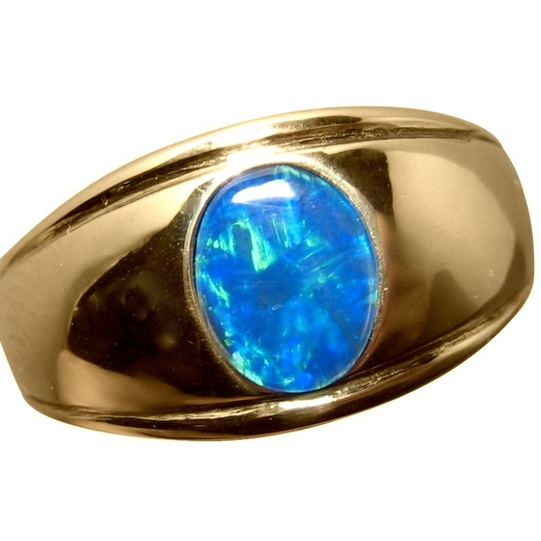 Mens Blue Opal Ring Gold Stylish Design Mens Opal Rings