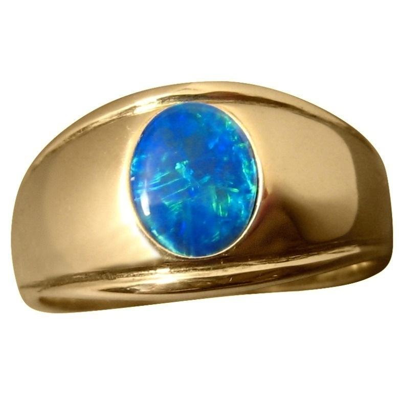 Mens Blue Opal Ring Gold Stylish Design Mens Opal Rings FlashOpal