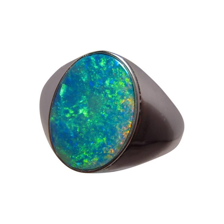 Mens Opal Ring 14k Gold Big Oval Gem Opal Rings Men