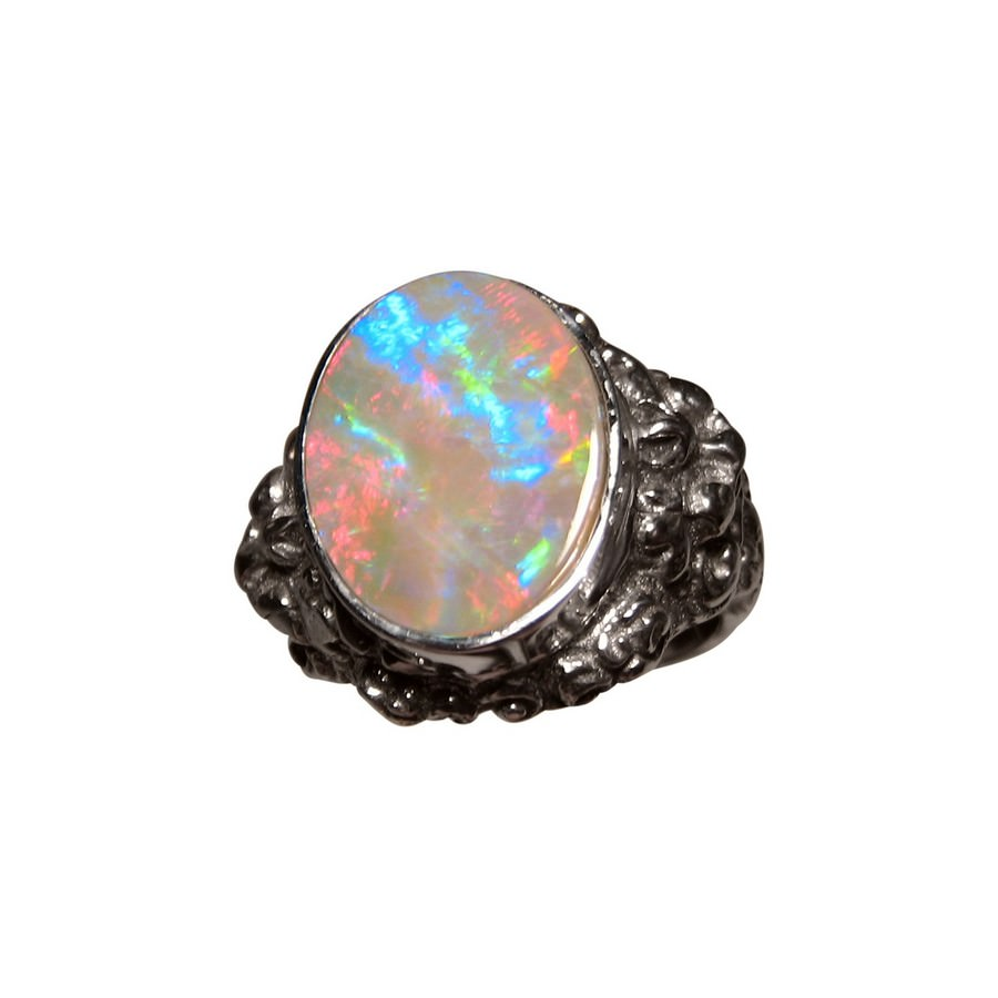 Mens Opal Ring Silver Barong Lion Design | FlashOpal