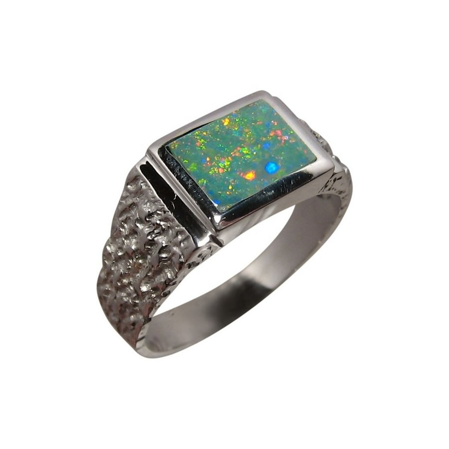Opal Ring for Men Heavy Silver One Rectangle Stone FlashOpal