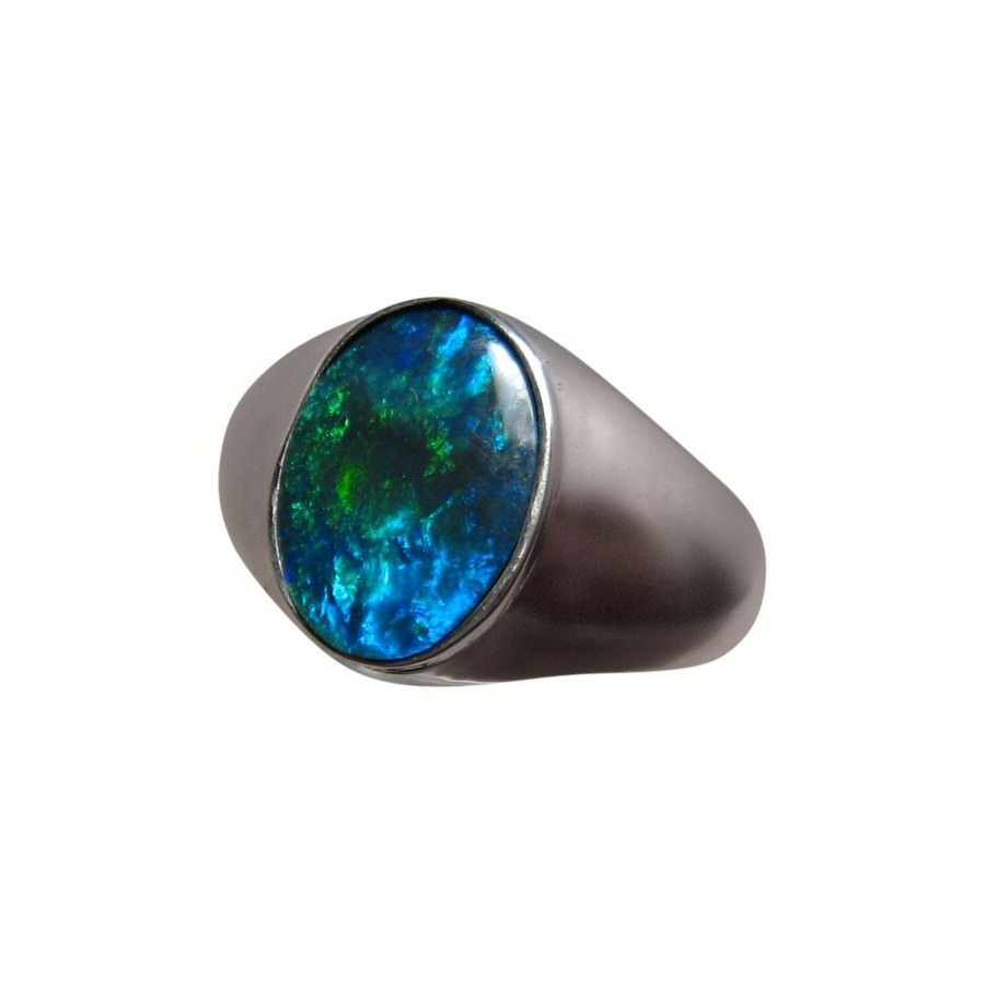Solitaire Black Opal Ring Men Green Blue Oval FlashOpal