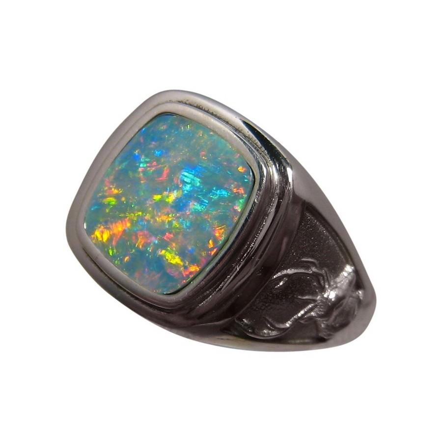 Mens Opal Ring 925 Silver Deer Buck | FlashOpal