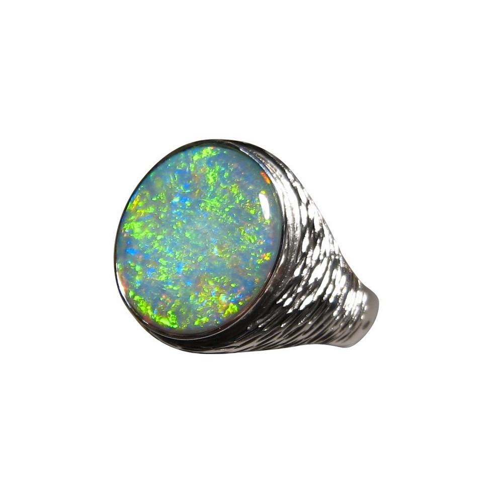 Mens Big Opal Ring Big Heavy Silver Opal Ring Men