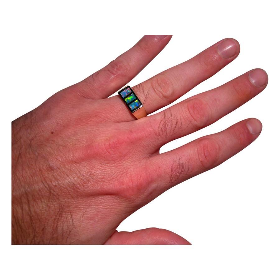 Mens Inlay Opal Ring 14k Gold - Opal Rings Men | FlashOpal