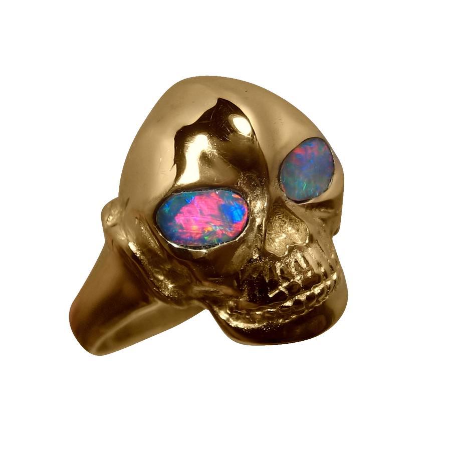 Skull Ring Red Opal Eyes Gold Mens Opal Rings Flashopal