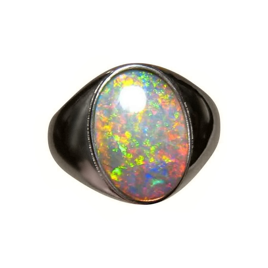 Mens Big Opal Ring Solitaire Oval | FlashOpal