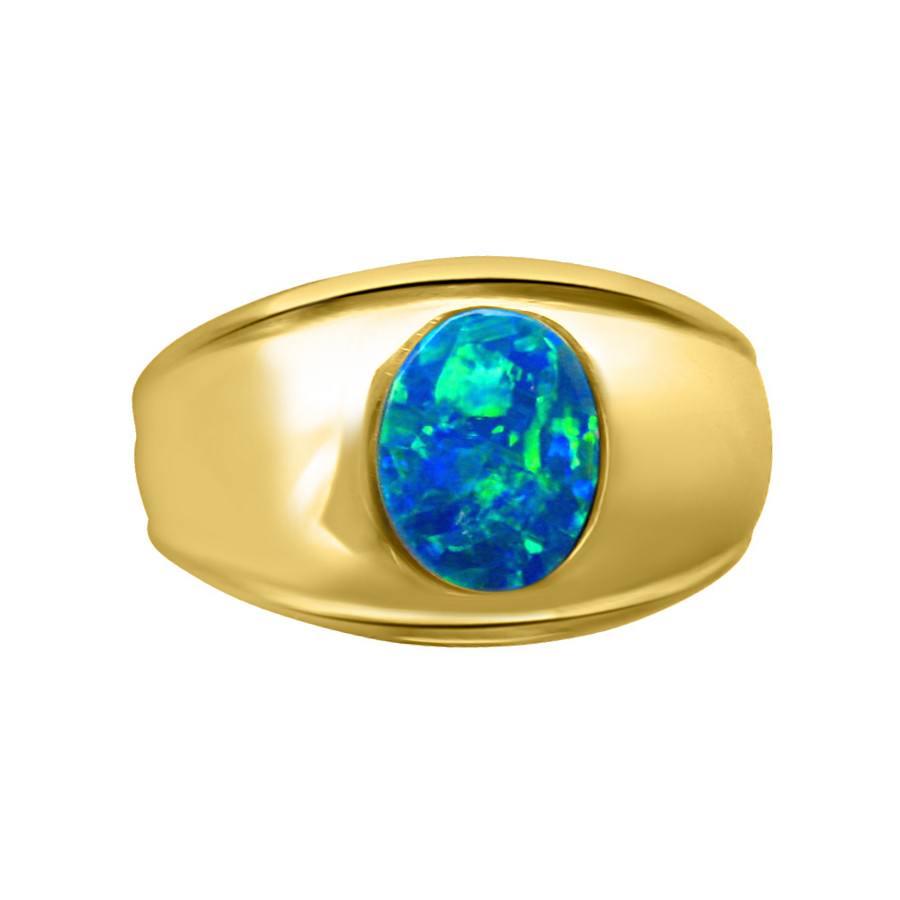 Mens Blue Opal Ring 14k Gold Wide Band Opal Ring Men