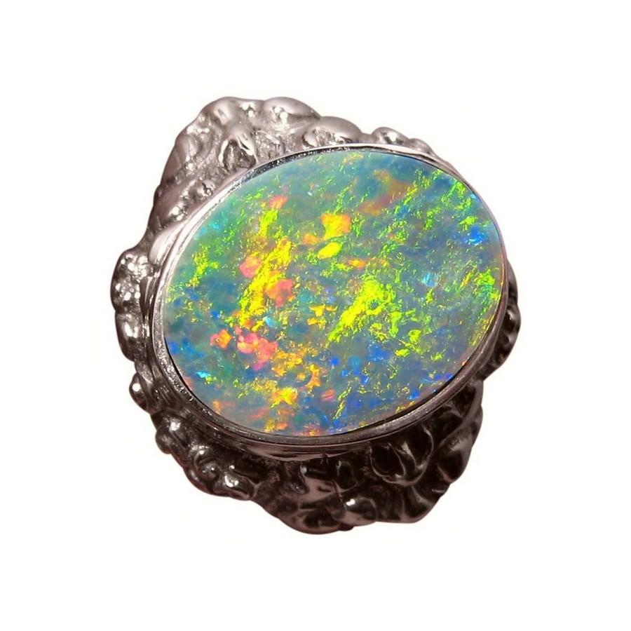 Mens Big Opal Ring 925 Silver Lion Barong FlashOpal
