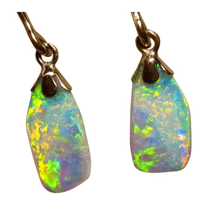 Shell Opal Earrings 14k Gold Dangling Flashopal