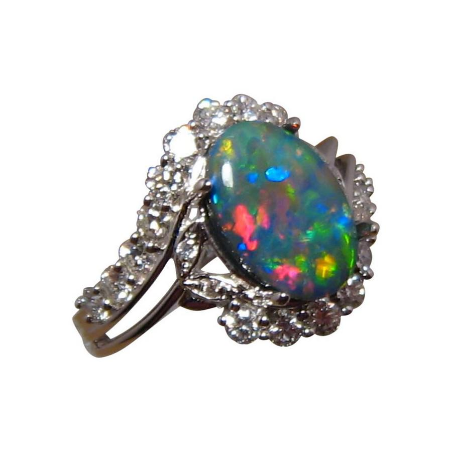 Colorful Black Opal And Diamond Ring 14k Gold Flashopal