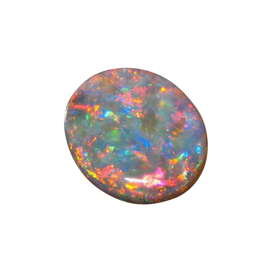 Red Blue Stone : Big black opal stone oval red and blue flashopal