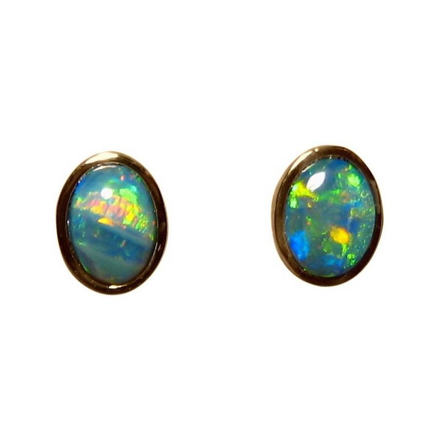 Opal Stud Earrings 14k Gold Oval Green Opal Earrings