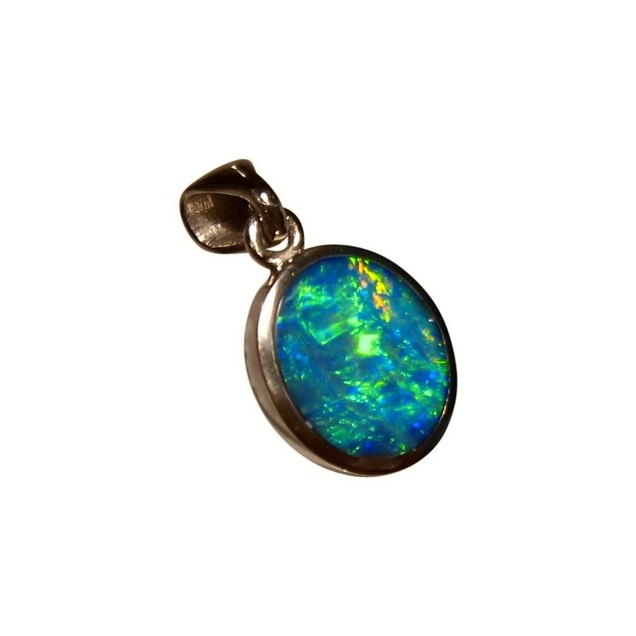 Green opal pendant 14k white gold inlay opal pendant flashopal oval opal pendant 14k white gold brilliant colors aloadofball Images