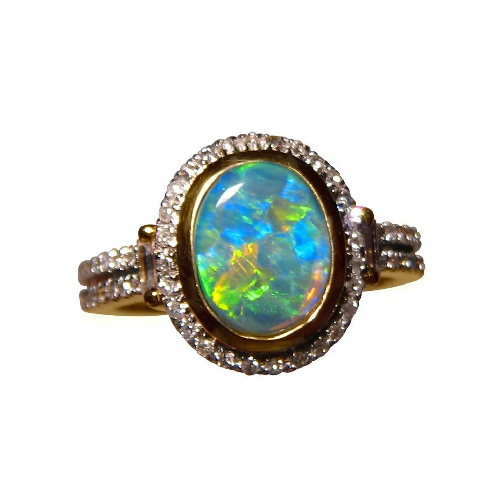 Australian Opal and Diamond Ring for sale