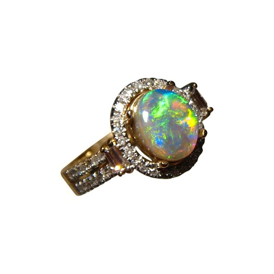 lime green opal ring with diamonds flashopal