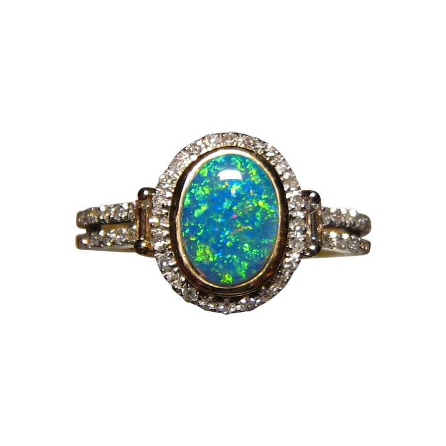 Bright Color Opal Diamond Ring 14k Gold Opal Rings