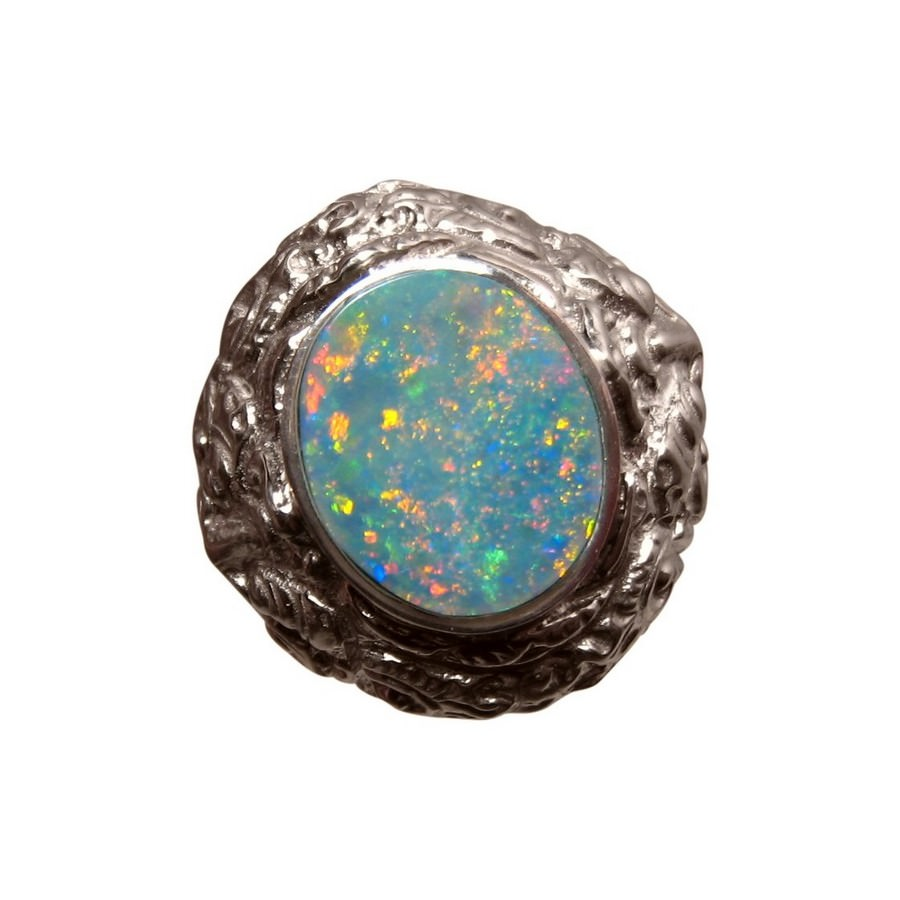 mens big opal ring sterling silver barong design