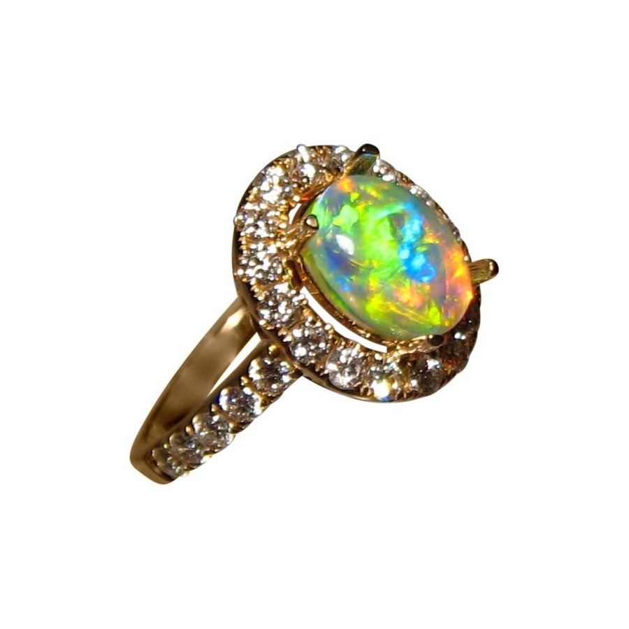diamond rings gemstone engagement natural pid opal cut gold op halo pear ring and white