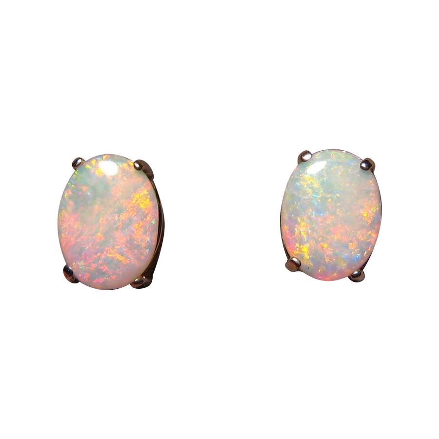 White Opal Earrings 14k Gold Studs