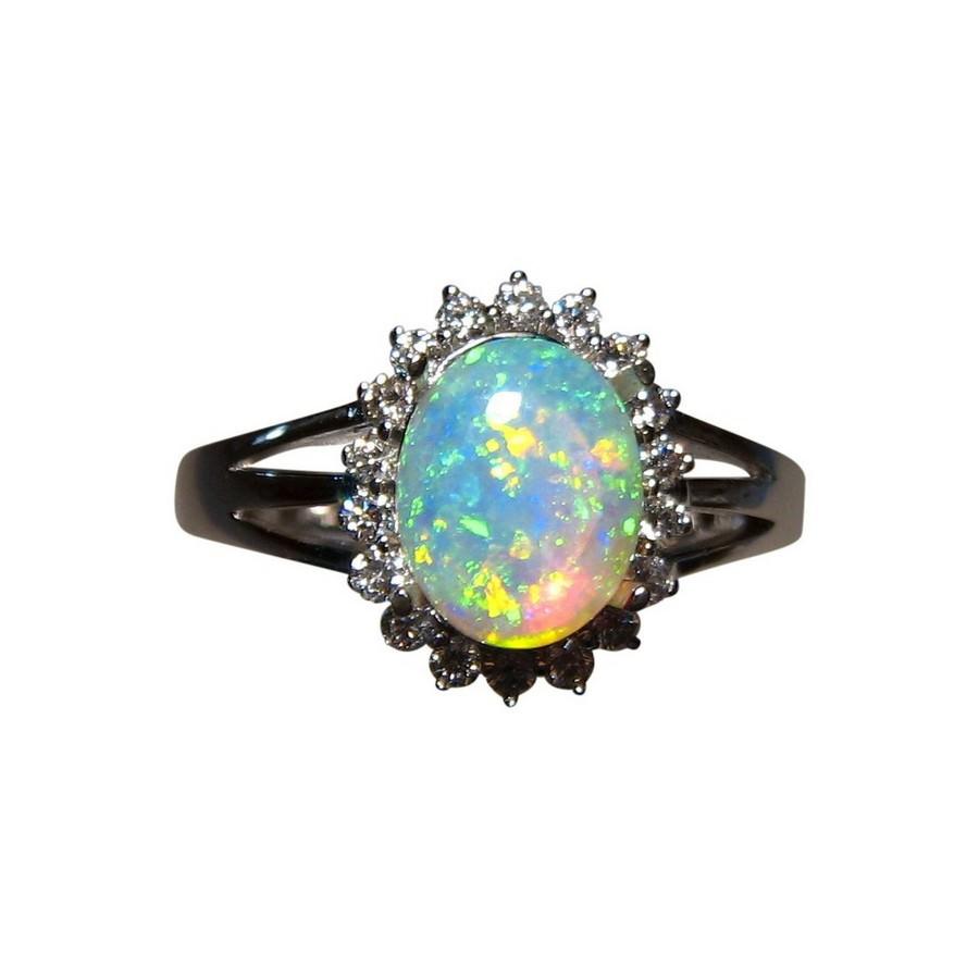 Oval Opal Diamond Ring 14k Gold Opal Rings for Sale FlashOpal