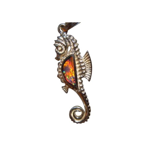 Opal pendant silver seahorse flashopal silver opal pendant sea horse brilliant red blue gem 925 sterling aloadofball Images