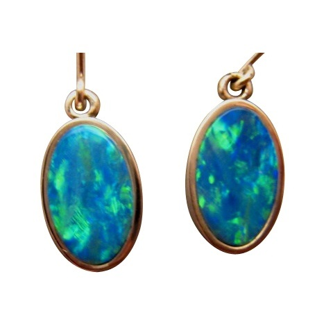 Large Oval Opal Dangling Earrings 925 Sterling Silver With Green Gold Gems