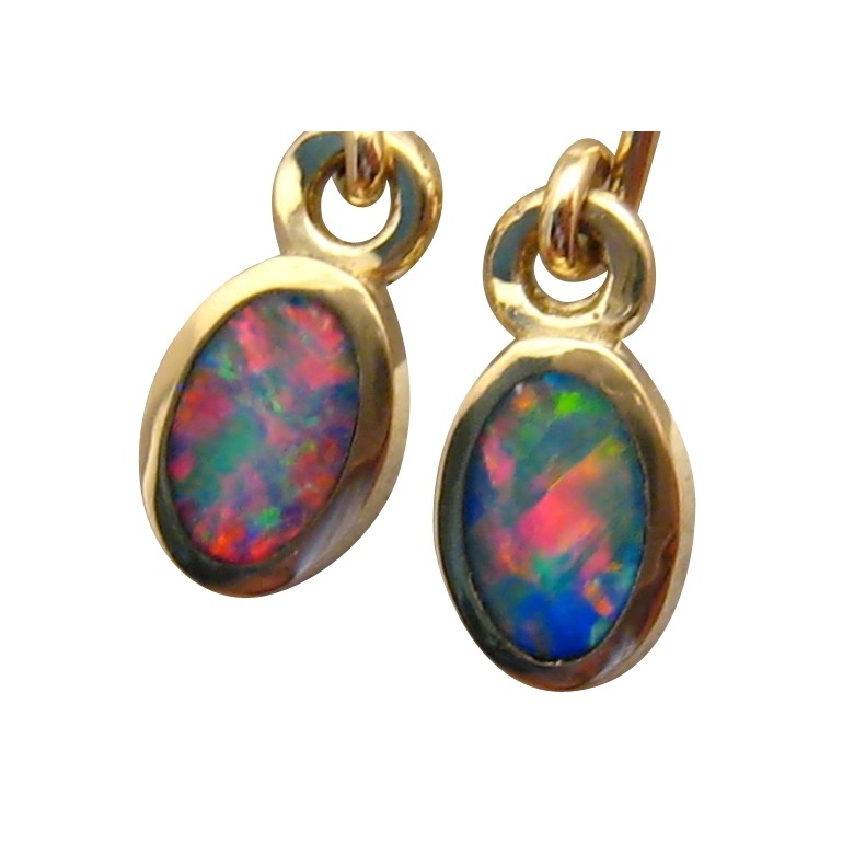 Red Blue Oval Opal Earrings 14k Gold