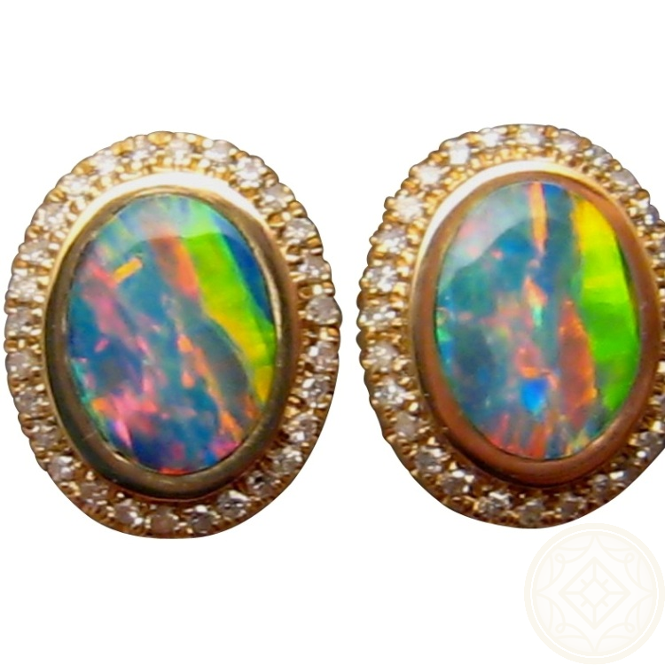 Oval Opal And Diamond Stud Earrings 14k Yellow Gold