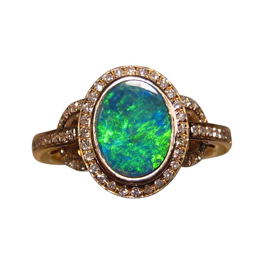 Green Opal Ring Diamonds 14k Opal Rings Flashopal