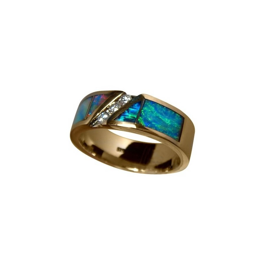 mens opal and ring wide band 14k gold flashopal