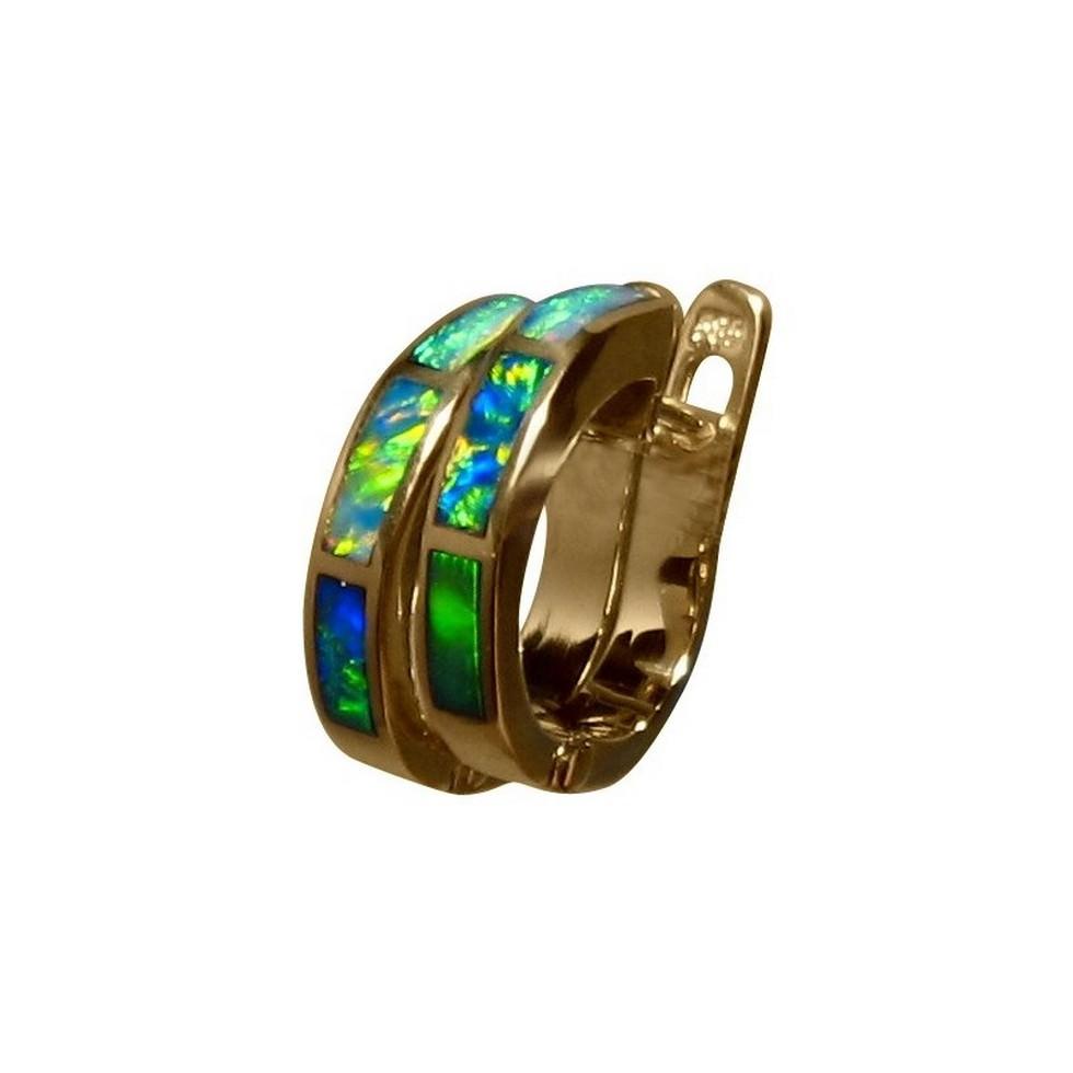 Small Opal Hoop Earrings 14k Gold