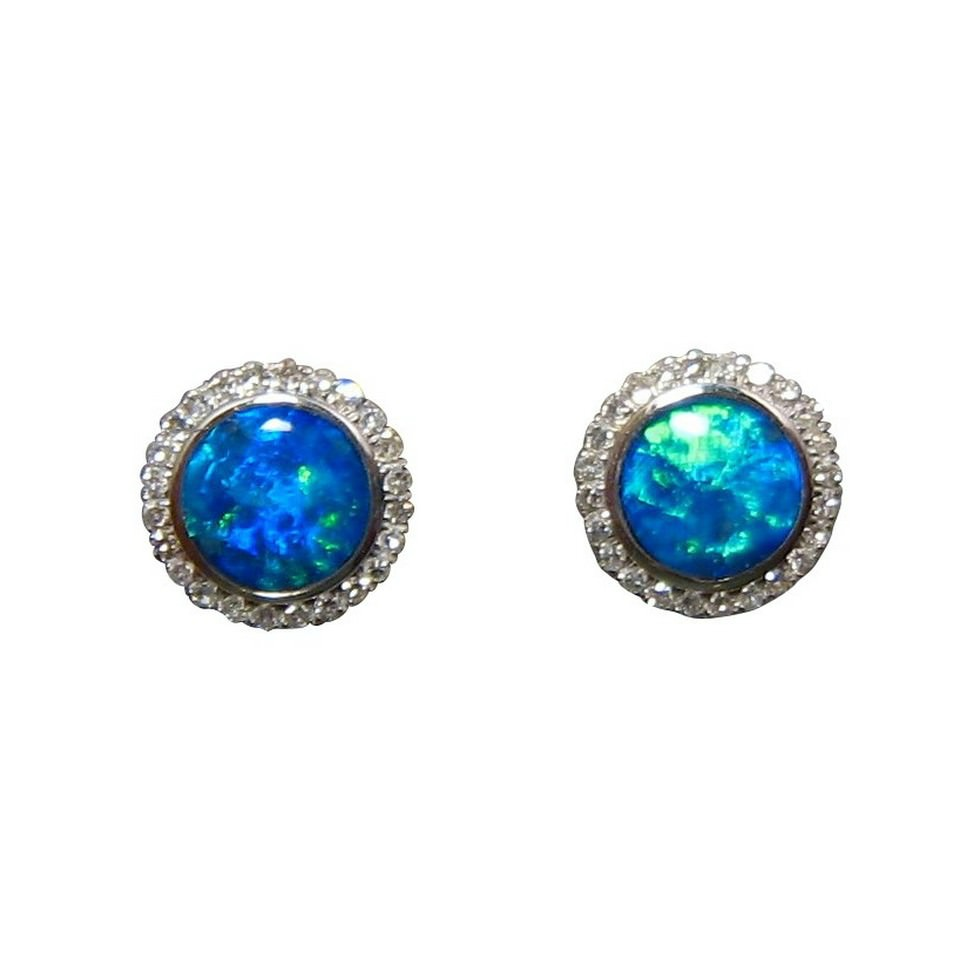 a250b997e Blue Opal Diamond Stud Earrings 14k - Opal Earrings | FlashOpal