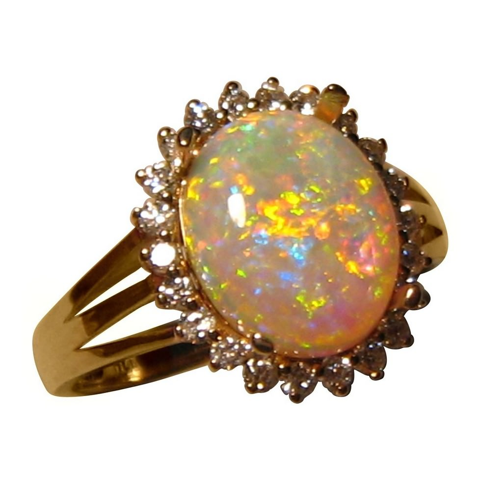 Opal Engagement Rings opal wedding rings 2 Carat Crystal Opal Ring with Diamonds 14k Gold